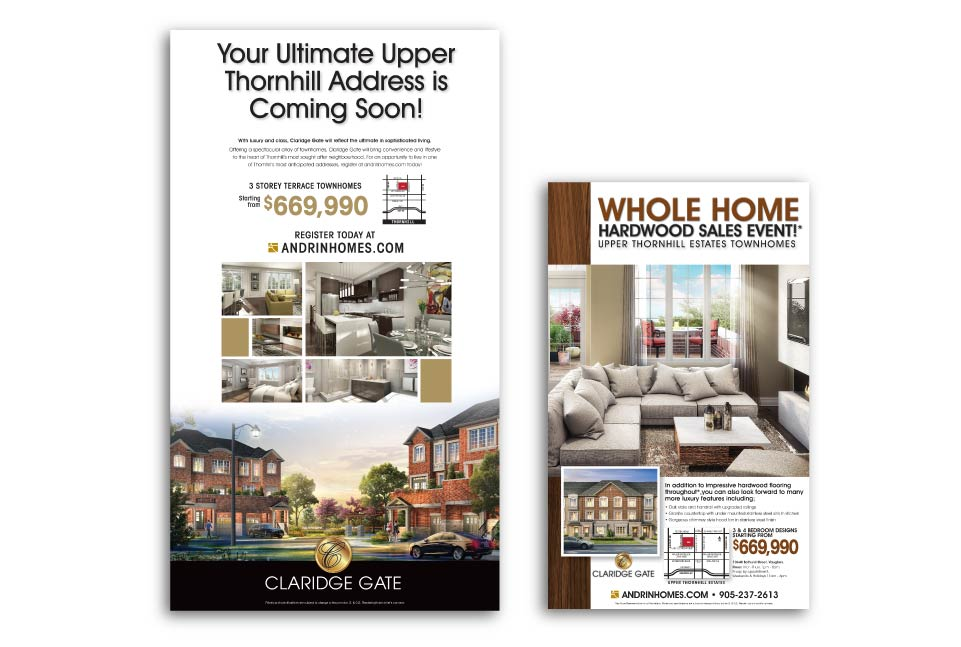 Low Rise, Andrin Homes, Claridge Gate, Print Advertising
