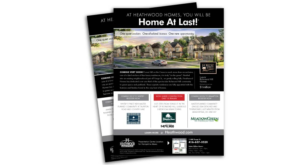 Low Rise, Heathwood Homes, Forest Hill, Print Advertising